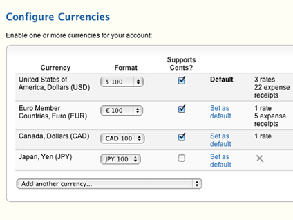 Configure multiple currencies for your account.