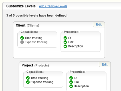 Customize your account's work levels.