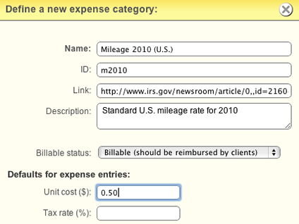 Expense categories can define useful defaults.