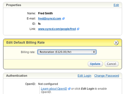 Assign default billing rates to each user.